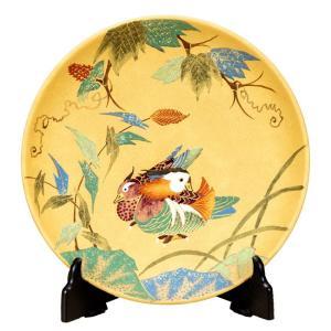 絵皿 九谷焼 飾り皿 金彩おしどり 新築祝い 開店祝い 叙勲祝いギフト|waza