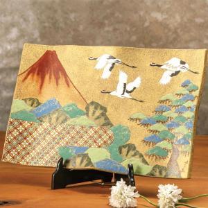 絵皿 九谷焼 飾り皿 赤富士に鶴 新築祝い 開店祝い 叙勲祝いギフト|waza