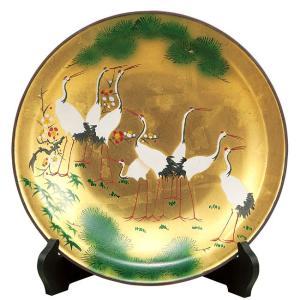 絵皿 九谷焼 飾り皿 金彩群鶴 新築祝い 叙勲祝い ギフト 記念品|waza