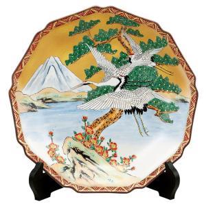 絵皿 九谷焼 飾り皿 富士に鶴 新築祝い 開店祝い 叙勲祝いギフト|waza