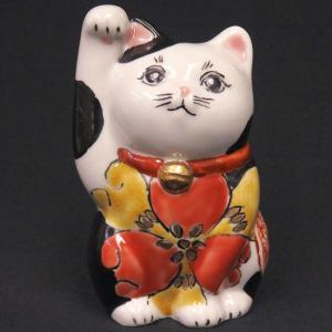 金運アップ 九谷焼 右手 招き猫 色絵 開運 置物 開店祝い ギフト waza