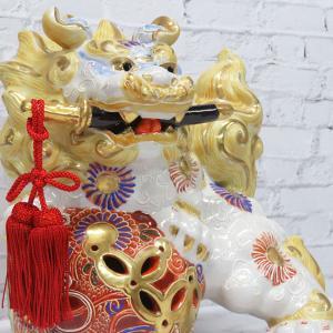 新築祝い 魔除け ギフト 九谷焼 剣獅子 盛 記念品 贈答品 プレゼント|waza