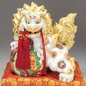 新築祝い 開店祝い 魔除け ギフト 九谷焼 13号 牡丹獅子 白盛 贈答品 プレゼント|waza