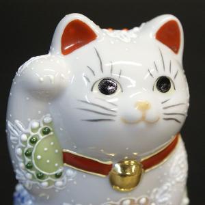 金運アップ 招き猫 円らな瞳で金運招く!九谷焼 小判乗り招き猫 白盛くん|waza