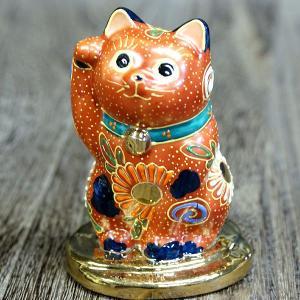 金運アップ 招き猫 九谷焼 右手 小判乗り 招き猫 茶盛 waza