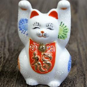 九谷焼 福万歳 招き猫 白盛|waza