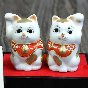 九谷焼 ペア ちび招き猫 金ブチ(台/敷物/立札付き)|waza