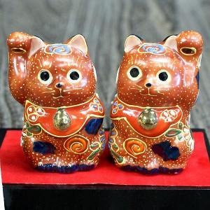 九谷焼 ペア ちび招き猫 茶盛(台/敷物/立札付き)|waza