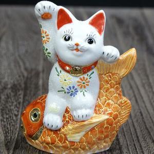 九谷焼 鯛乗り 招き猫 白盛|waza