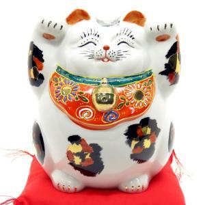 九谷焼 太っちょ 両手上げ 招き猫 金三毛|waza