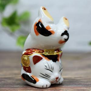 困難克服!開運 九谷焼 逆立ち招き猫 三毛|waza