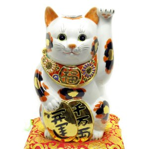 九谷焼 招き猫 千万両・開運と書かれた開運小判を持った左手金三毛猫は大人気♪左手招きでご縁も招きます...