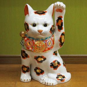 九谷焼 15号 超特大 左手招き猫 金三毛(座布団付)|waza