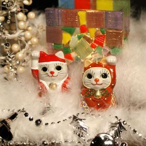 奇跡を呼ぶ♪ちび招き猫 サンタ&トナカイちゃん|waza
