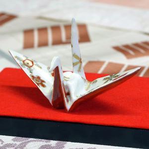 九谷焼 色絵折り鶴 金銀彩結晶文|waza