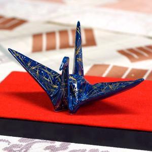 九谷焼 色絵折り鶴 金彩松の葉|waza