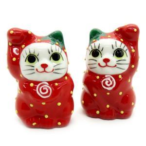 幸運を呼ぶ♪ ちび招き猫 イチゴぐるみちゃん|waza