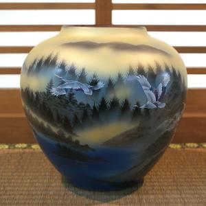 九谷焼 花瓶 鶴山水(生産終了品)|waza