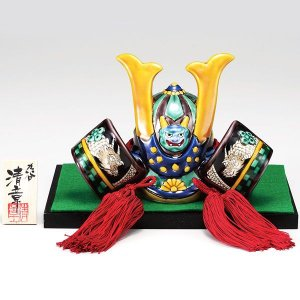 初節句 お祝い 五月人形 九谷焼 陶器 兜飾り 交趾|waza