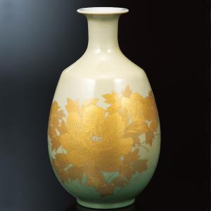三代 吉田美統(人間国宝) 九谷焼 8号 花瓶 釉裏金彩牡丹紋|waza