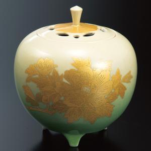 三代 吉田美統(人間国宝) 九谷焼 4号 香炉 釉裏金彩牡丹紋|waza