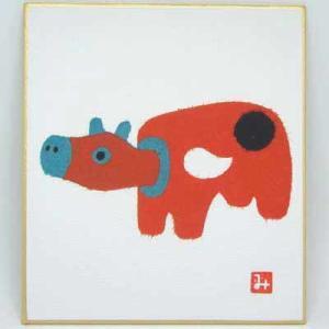 干支の赤ベコを貼り絵で描いた小色紙。 縦13.5cm×横12cm
