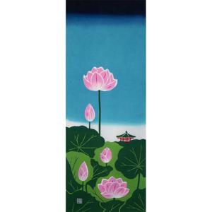 日本の夏    蓮の花 お寺 池 不滅 手ぬぐい wazakka
