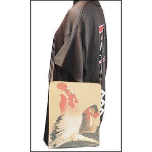 デニムショルダーバッグ 若冲 にわとり 軍鶏|wazakka