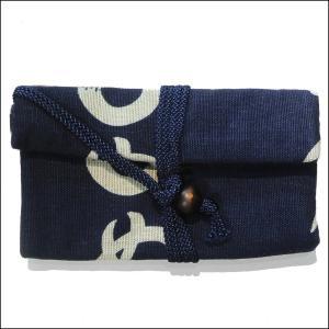 道中財布 かまわぬ 藍色    お祭り  小銭入れ|wazakka
