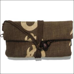 道中財布 かまわぬ こげ茶色    お祭り  小銭入れ|wazakka