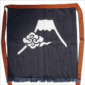 デニム帆前掛け 富士に雲    片側ポケット付き 倉敷屋 スマートレター便不可|wazakka