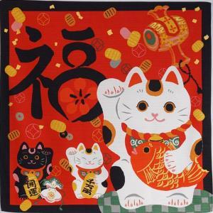 招き猫(右手)    小風呂敷 シャンタン 一尺三寸幅 wazakka