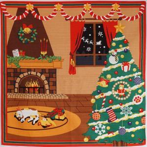 みけのクリスマス    12月 手捺染小風呂敷 三毛猫 クリスマスツリー イヴ wazakka