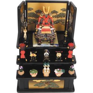 五月人形 端午の節句 鎧中赤三段飾り(黒) 節句人形・こどもの日・鎧兜・コンパクトサイズ・ミニサイズ|wazakkahonpo