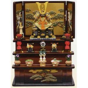 五月人形 端午の節句 櫃付兜中緋三段飾り(茶) 節句人形・こどもの日・鎧兜・コンパクトサイズ・ミニサイズ|wazakkahonpo