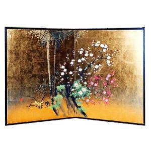 屏風(びょうぶ) 枕屏風 縦型金屏風 四君子 日本製の写真