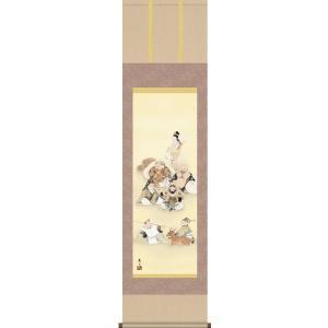 掛け軸 尺三幅 七福神(榎本 東山) *受注後生産商品です 床の間に合う掛け軸(掛軸) 掛け軸用品2点セット付き|wazakkahonpo