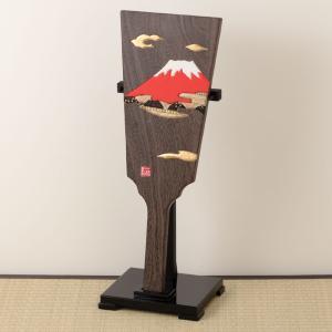 羽子板飾り(大) 赤富士の木目込み細工 スタンド付き 桐製・時代仕上 箱長の桐工芸品 Hagoita decoration of Paulownia, Hakocho|wazakkawakei