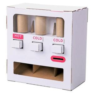 ダンボール工作キット 自動販売機 のりもはさみも使わずに組み立てられるペーパークラフト Cardbo...