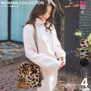 商品名:エコファー巾着バッグ/Eco fur drawstring bag  (サイズ) 横幅約25...
