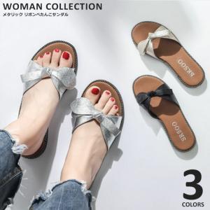 レディース 靴 サンダル ぺたんこ  春 夏 歩きやすい 大きいサイズ  大きめ リボン おしゃれ 可愛い  メール便送料無料|wc-y
