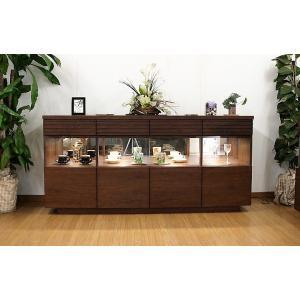 180リビングコレクションサイドボード 天然木ウォールナット LEDダウンライト付き 国産高級家具 |web-interior