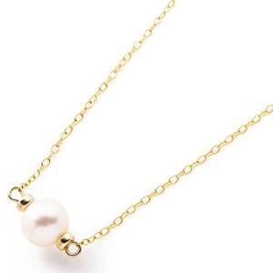1粒淡水パール(淡水真珠)ネックレス K14GFチェーン ホワイト web-mark