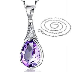 Aurora アメジスト 小粒 雫(しずく)型 女の子 シャイプ 誕生石 ペンダント ネックレス 40cm チェーン 人工 パー web-mark