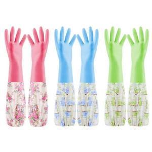 キッチン手袋 1層式 (夏・冬向け) 3セット入り ロング 一層裏地 裾絞り ゴム手袋 キッチングローブ 洗い物 掃|web-mark