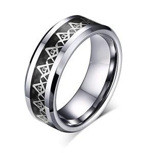 Rockyu ジュエリー ブランド タングステン リング シルバー レディース メンズ 16号 指輪 フリーメーソン リング web-mark