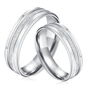 Rockyu アクセサリー リング レディース ペア リング ステンレス シルバー 結婚指輪 17号 web-mark