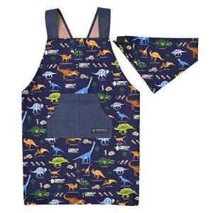 バッククロス子どもエプロン 三角巾付き(身長100-120サイズ) 発見! 探検! 恐竜大陸(ネイビー) 日本製 N7901410|web-mark