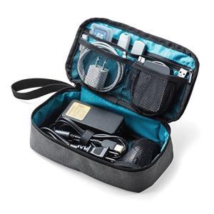 サンワダイレクト トラベルポーチ 充電器ポーチ PC周辺小物整理 収納ポーチ 旅行 グレー 200-...