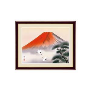 富士山水 赤富士飛翔 伊藤渓山 三美会 額入り おしゃれ インテリア G4-BF041